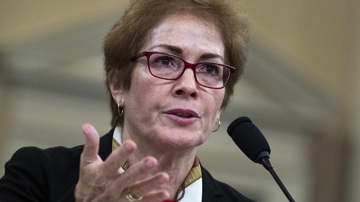 Marie Yovanovitch, former U.S. ambassador to Ukraine, testifies during the impeachment hearing on Friday. (Photo: Tom Williams/CQ-Roll Call Inc. via Getty Images)