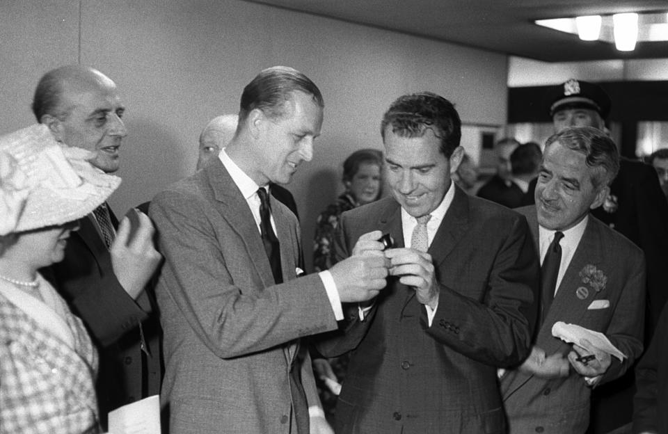 Vice President Richard Nixon and Prince Philip at the  opening  of the British Trade Exhibition at the New York Coliseum, June 10, 1960. (Photo by Ben Martin/Getty Images)