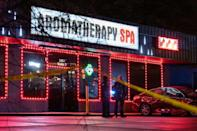 A massage parlor where a person was shot and killed on March 16, 2021, in Atlanta, Georgia