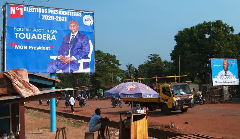 A campaign billboard of Central African Republic President Faustin Archange Touadera is seen the streets ahead of the upcoming elections in Bangui