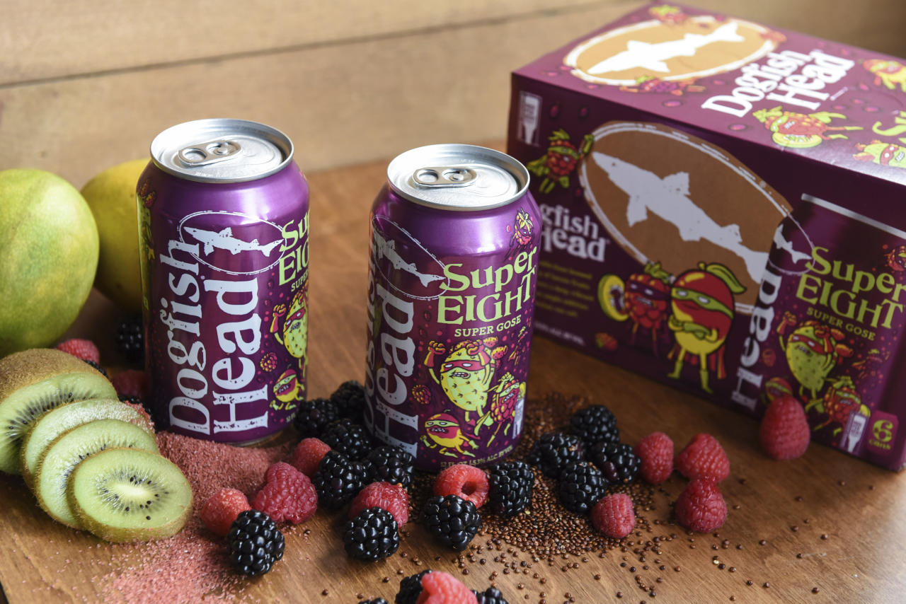 In this undated photo provided by Dogfish Head Craft Brewery, cans of Dogfish's SuperEight beer are displayed on a table in Milton, Del. Kodak says the new beer hitting the market can be used to develop its Super 8 movie film. Dogfish Head Craft Brewery in Delaware created its SuperEIGHT beer after a conversation with people at Kodak, the upstate New York technology company most famous for its photographic roots. (Dogfish Head Craft Brewery via AP)