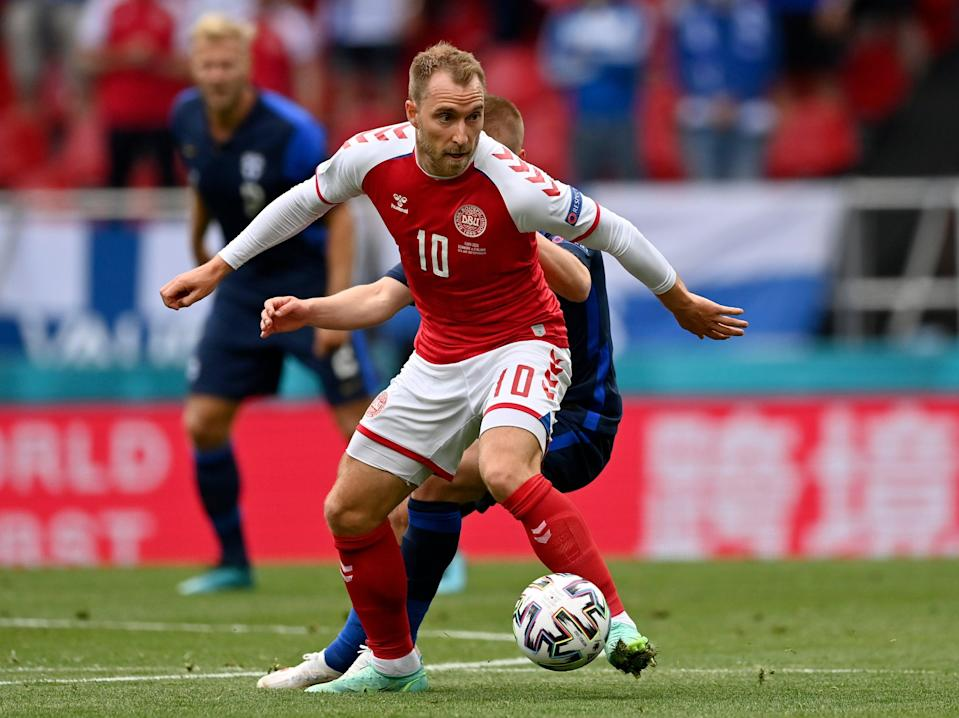 Christian Eriksen on the ball before his collapse during the Euro 2020 match between Denmark and Finland in Copenhagen (AP)