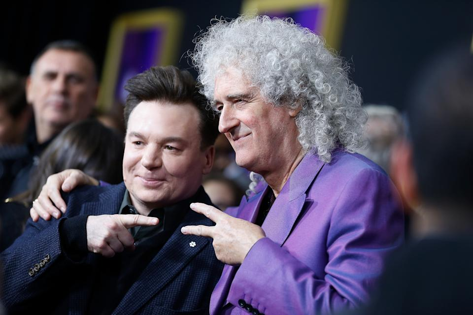 """NEW YORK, NY - OCTOBER 30:  Mike Myers and Brian May attend """"Bohemian Rhapsody"""" New York premiere at The Paris Theatre on October 30, 2018 in New York City.  (Photo by John Lamparski/WireImage)"""
