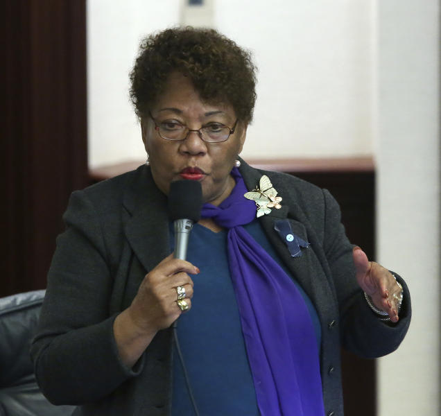 Rep. Geraldine Thompson, D-Windermere, debates the felon voting rights bill during session Wednesday April 24, 2019, in Tallahassee, Fla. (AP Photo/Steve Cannon)