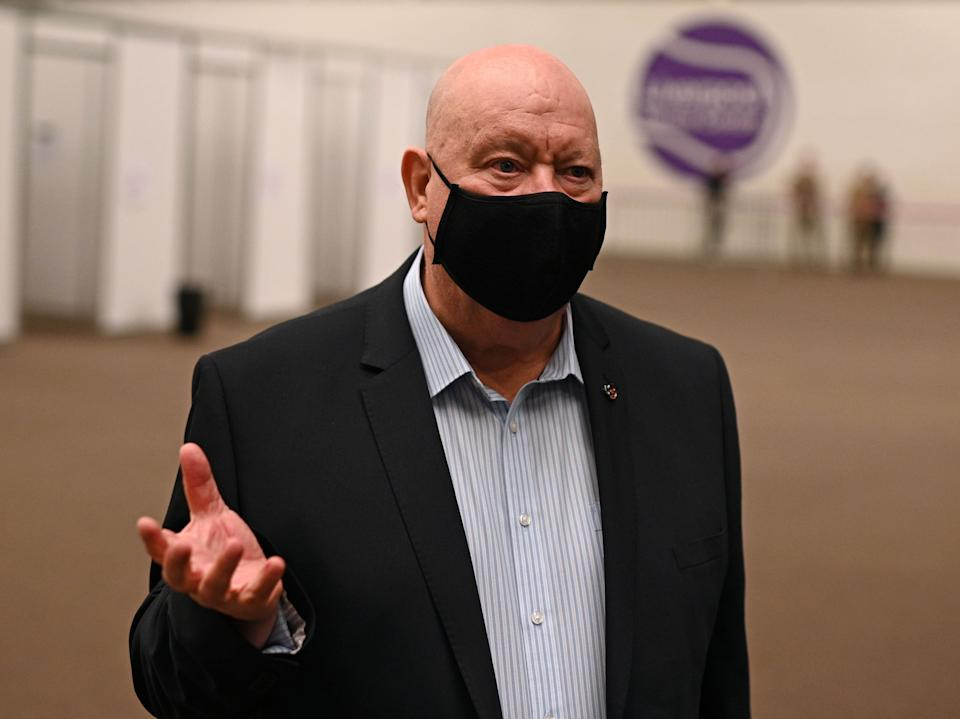 Mayor of Liverpool Joe Anderson talks to journalists inside a Covid-19 rapid testing centre in NovemberAFP via Getty Images