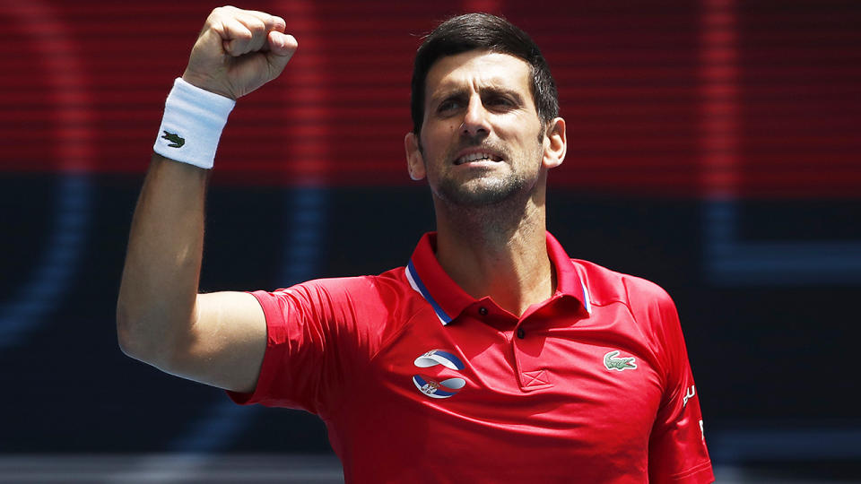 Novak Djokovic guided Serbia to an ATP Cup victory after completing quarantine. (Photo by Daniel Pockett/Getty Images)