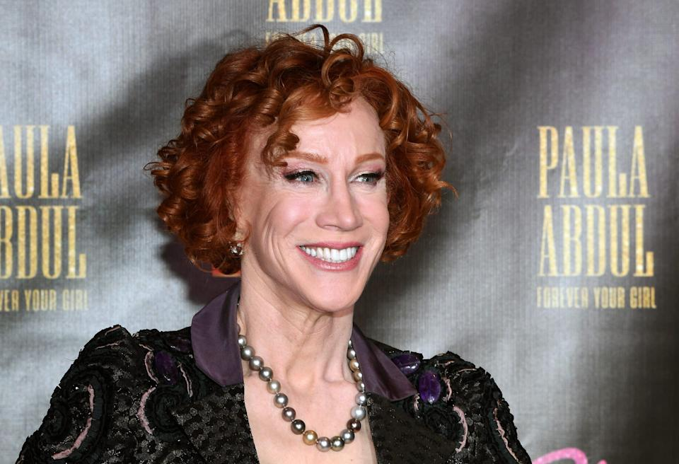 Comedian Kathy Griffin, seen here in a 2019 file photo at the opening of Paula Abdul's Flamingo Las Vegas residency, revealed on social media she has lung cancer.