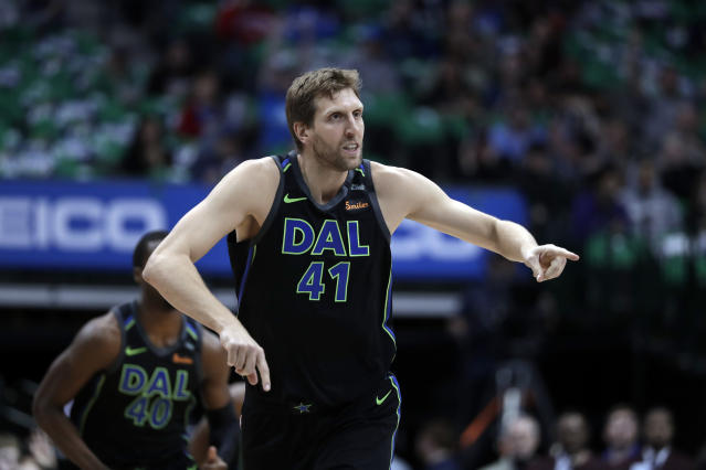 Dirk Nowitzki will be back for the 2018-2019 season. (AP Photo/Tony Gutierrez)