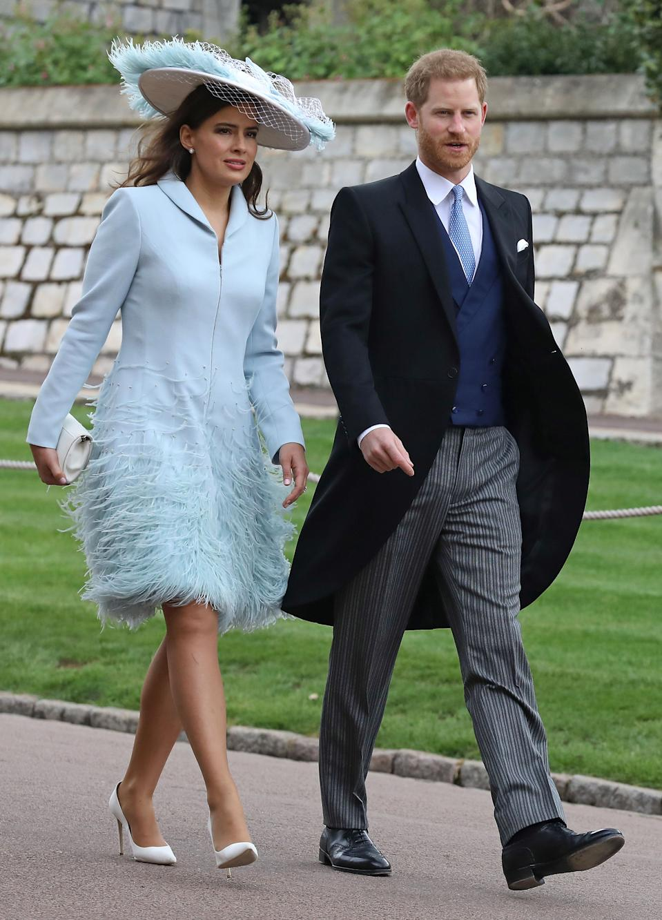 Lady Frederick Windsor (L) and Britain's Prince Harry, Duke of Sussex arrive at St George's Chapel in Windsor Castle, Windsor, west of London, on May 18, 2019, to attend the wedding of Lady Gabriella Windsor to Thomas Kingston. - Lady Gabriella, is the daughter of Prince and Princess Michael of Kent. Prince Michael, is the Queen Elizabeth II's cousin. (Photo by Steve Parsons / POOL / AFP)        (Photo credit should read STEVE PARSONS/AFP via Getty Images)