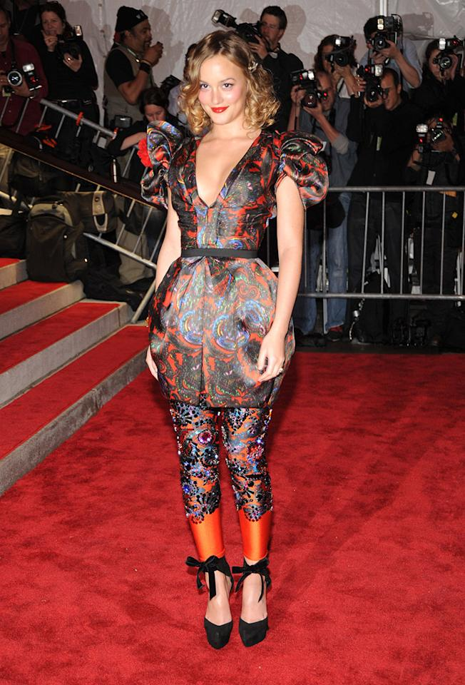 """""""Gossip Girl's"""" Leighton Meester paired her lightened curled locks with a bold printed dress and matching leggings from Louis Vuitton's Fall collection. Kevin Mazur/<a href=""""http://www.wireimage.com"""" target=""""new"""">WireImage.com</a> - May 4, 2009"""