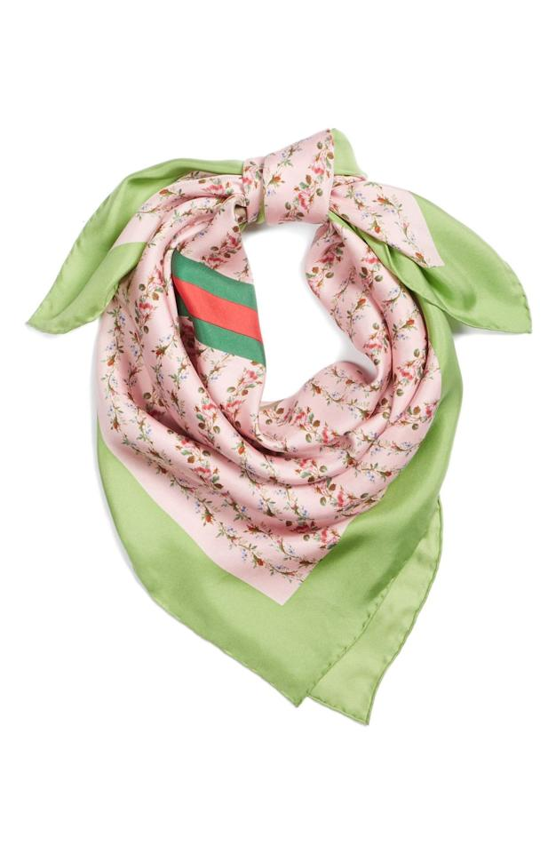 """<p>Mom will love sporting this freshly hued silk scarf that features a trailing floral pattern and Gucci's signature stripes, $495.</p><p><em><br></em></p><p><a class=""""body-btn-link"""" href=""""https://fave.co/2PvoSPI"""" target=""""_blank"""">Shop Now</a></p>"""