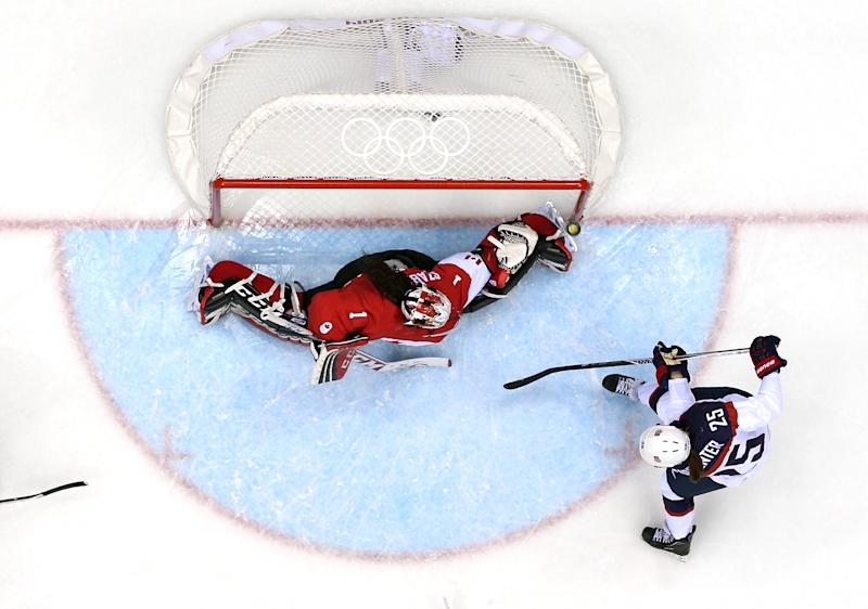 Alex Carpenter #25 of United States shoots and scores against Shannon Szabados #1 of Canada in the third period during the Ice Hockey Women's Gold Medal Game on day 13 of the Sochi 2014 Winter Olympics at Bolshoy Ice Dome on February 20, 2014 in Sochi, Russia.