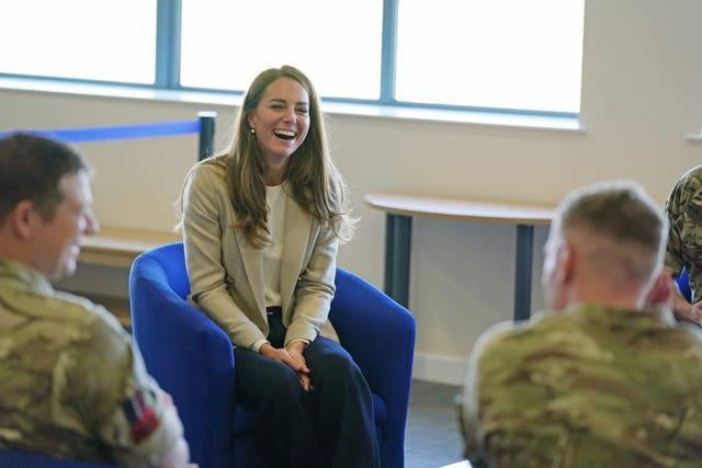 Kate met military personnel during a visit to RAF Brize Norton (Steve Parsons/PA)