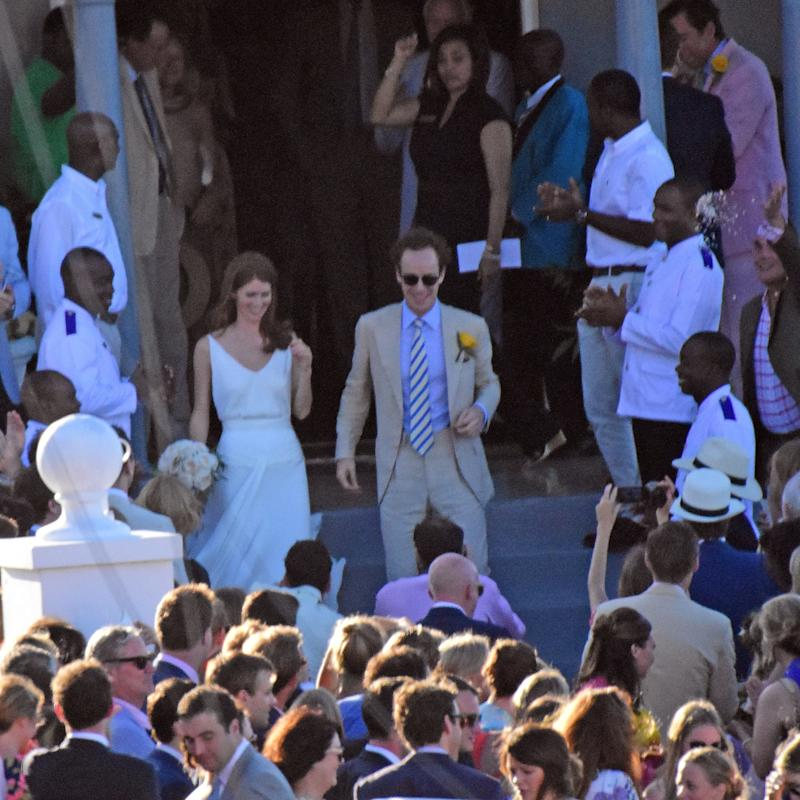 The couple were celebrating Tom 'Skippy' Inskip's marriage to his long-time girlfriend, Lara Hughes-Young - Credit: MEGA