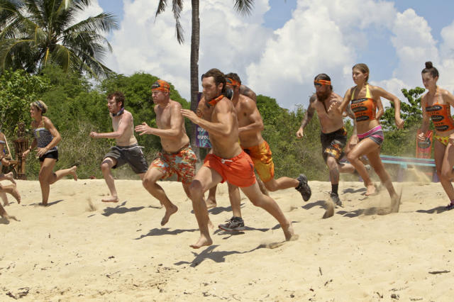 """There's Gonna be Hell to Pay"" - Reynold Toepfer and Michael Snow lead the charge for the Gota Tribe during the Immunity Challenge on the third episode of ""Survivor: Caramoan - Fans vs. Favorites."""