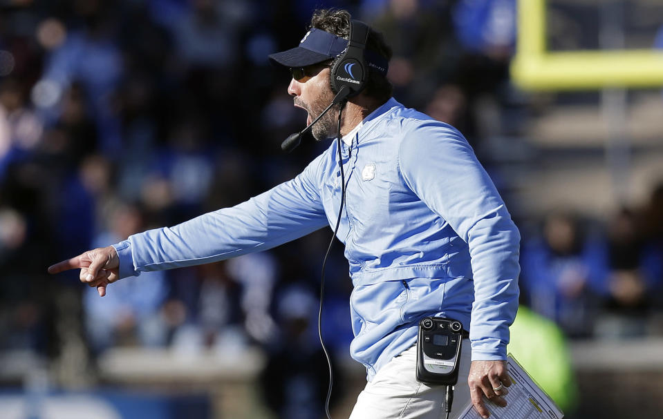 North Carolina coach Larry Fedora is now former UNC coach Larry Fedora. (AP Photo/Gerry Broome)