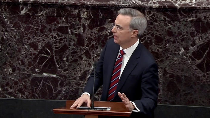 White House Counsel Pat Cipollone speaks during impeachment proceedings against U.S. President Donald Trump in the Senate at the U.S. Capitol on January 25, 2020 in Washington, DC. (Screengrab: Senate TV via Yahoo News)