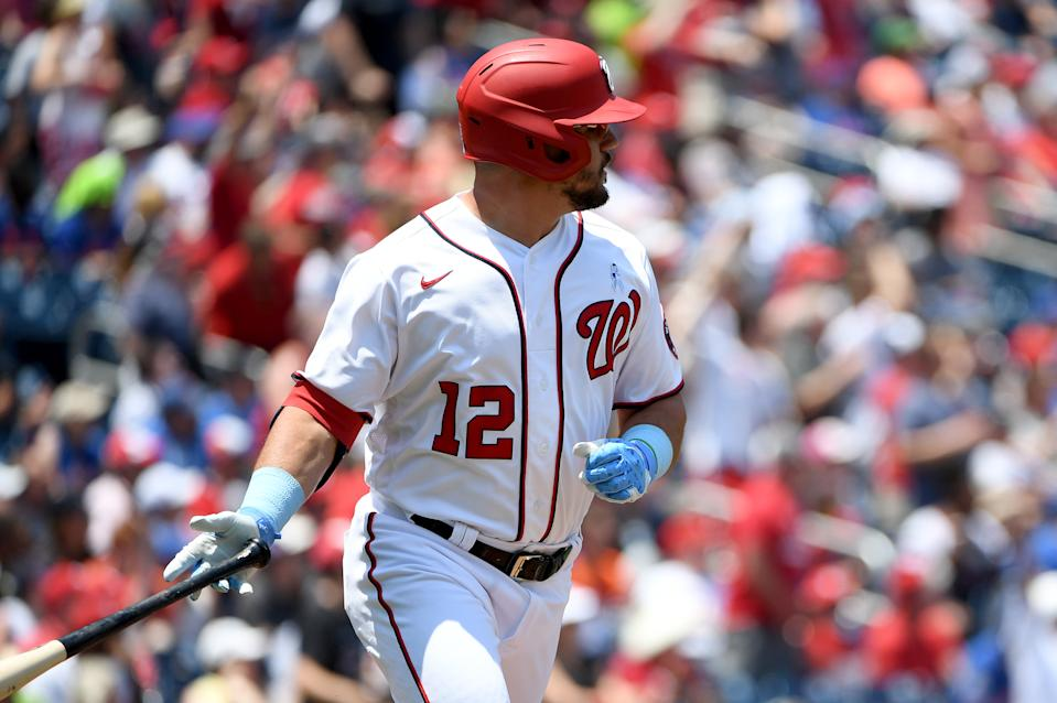 WASHINGTON, DC - JUNE 20: Kyle Schwarber #12 of the Washington Nationals looks on after hitting a home run against the New York Mets at Nationals Park on June 20, 2021 in Washington, DC. (Photo by Will Newton/Getty Images)