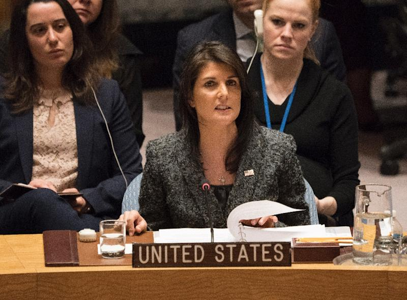 US Ambassador to the UN Nikki Haley, seen here after a February 24, 2018 UN Security Council vote on a ceasefire in Syria, says it has failed