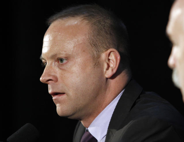 Chicago Blackhawks general manager Stan Bowman speaks during media day for the NHL hockey Stanley Cup finals between the Blackhawks and the Philadelphia Flyers, Thursday, May 27, 2010, in Chicago. The finals start Saturday. (AP Photo/Nam Y. Huh)