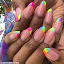 """<p>Keep the pride love flowing all year round with this rainbow neon french design.</p><p><a href=""""https://www.instagram.com/p/BzkoueahIYu/"""" rel=""""nofollow noopener"""" target=""""_blank"""" data-ylk=""""slk:See the original post on Instagram"""" class=""""link rapid-noclick-resp"""">See the original post on Instagram</a></p>"""