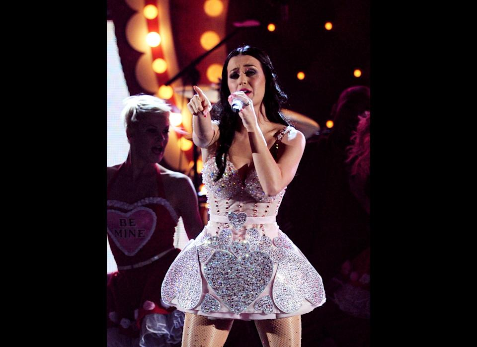 Singer Katy Perry performs onstage during the 53rd Annual GRAMMY Awards held at Staples Center on February 13, 2011 in Los Angeles, California.  (Photo by Kevin Winter/Getty Images)