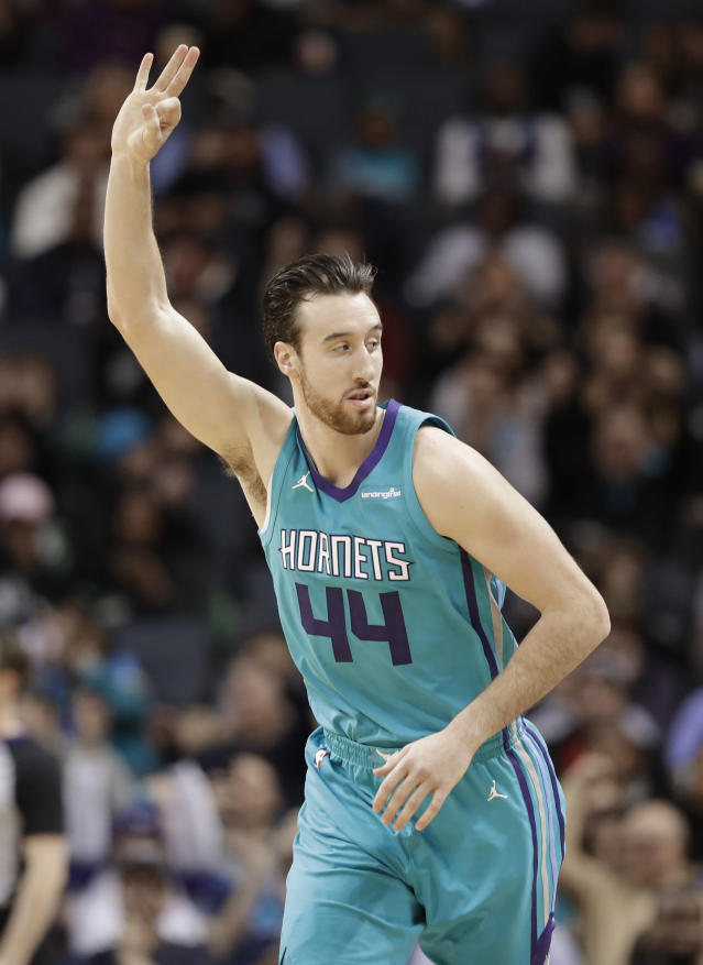 Charlotte Hornets' Frank Kaminsky (44) reacts after making a three point basket against the Miami Heat during the second half of an NBA basketball game in Charlotte, N.C., Saturday, Jan. 20, 2018. (AP Photo/Chuck Burton)