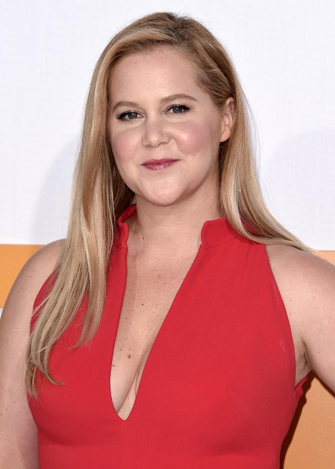 <p>Schumer's raspberry lip and soft blush perfectly complimented her look for the evening. </p>