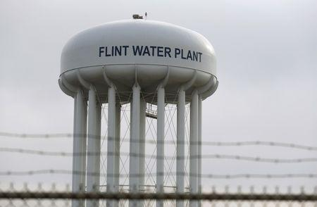 The top of the Flint Water Plant tower is seen in Flint, Michigan