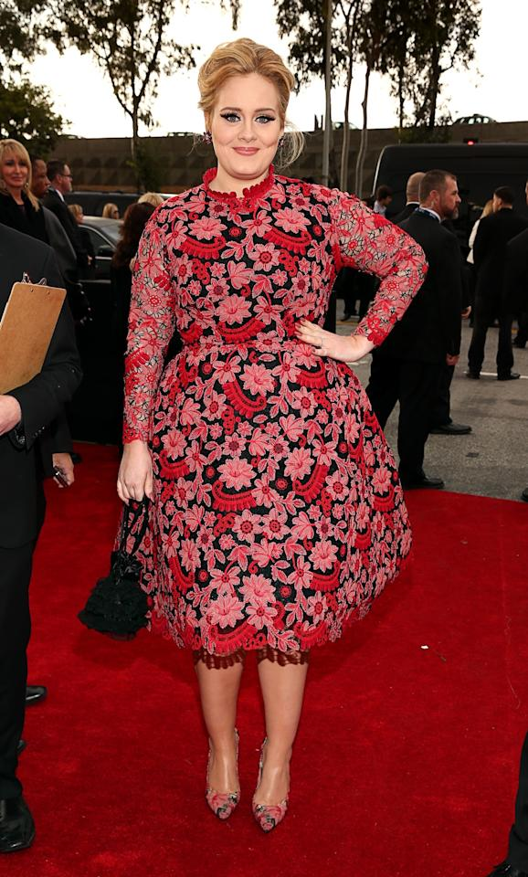 """<div class=""""caption-credit""""> Photo by: Getty</div><div class=""""caption-title""""></div>It was nice to see Adele take a break from her signature black dresses in this floral Valentino (and matching shoes!). <br>"""