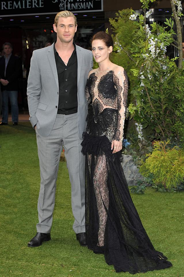 """Chris Hemsworth and Kristen Stewart attend the London premiere of """"Snow White and the Huntsman"""" on May 14, 2012."""