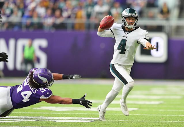 Jake Elliott tried to fake out the Minnesota Vikings. It was not a smart play. (Photo by Adam Bettcher/Getty Images)
