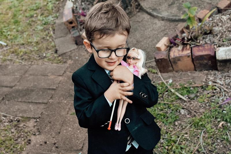 Emma Evert took to Facebook to share a touching post about her son who finally has a doll who is like him and uses a cane. Photo: Supplied