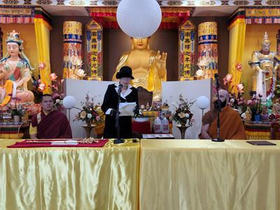 Chairperson Suzi Leggett of World Peace Prize Awarding Council and the World Peace Prize Religious Leaders Title Awarding Council announcing the joint resolution that return of the Pope of Buddhism Scepter by His Holiness Dorje Chang Buddha was unacceptable.