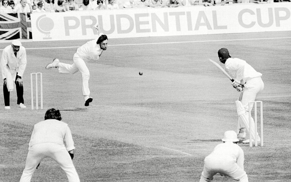 Hendrick takes on New Zealand in the 1979 World Cup semi-final: he took three wickets in the match and ended as the tournament's leading wicket-taker, with 10 - Shutterstock