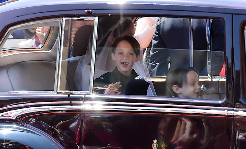 Meghan Markle and the page boys arrive at St. George's Chapel at Windsor Castle on May 19. (WPA Pool via Getty Images)