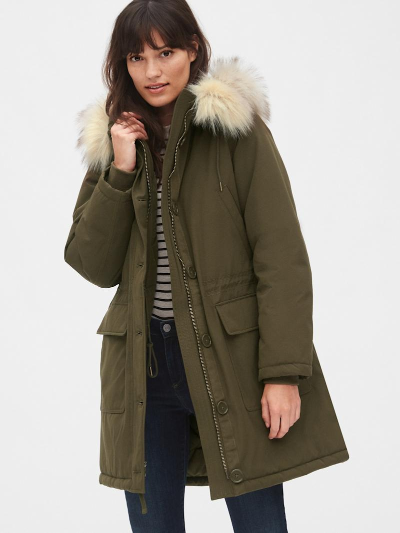 Available in Olive green and Black. Image via GAP.