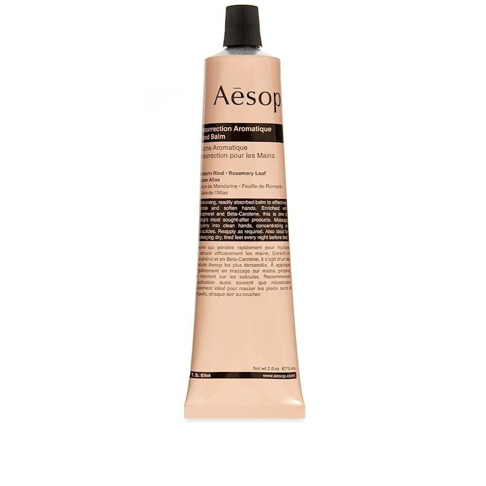 """<p><strong>Aesop</strong></p><p>saksfifthavenue.com</p><p><strong>$30.00</strong></p><p><a href=""""https://fave.co/3gnnSLn"""" rel=""""nofollow noopener"""" target=""""_blank"""" data-ylk=""""slk:SHOP NOW"""" class=""""link rapid-noclick-resp"""">SHOP NOW</a></p><p>We love a callused dad but make gruff handshakes more enjoyable with some delectable Aesop hand cream.</p>"""