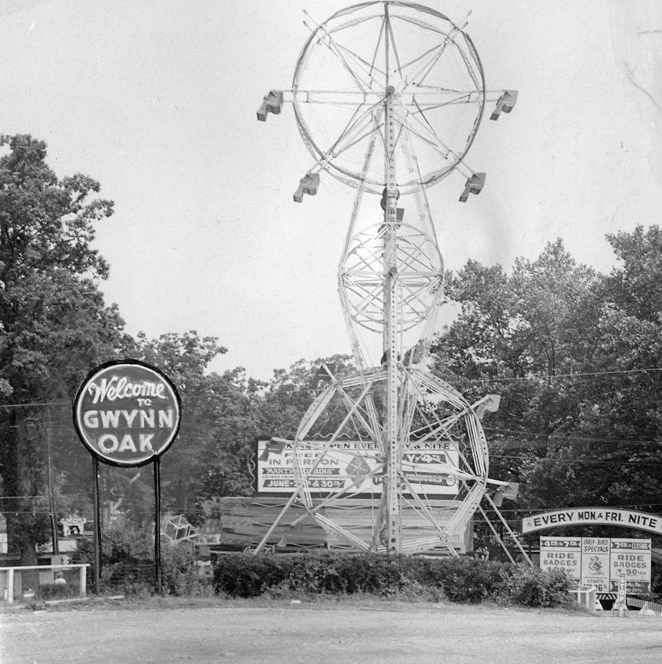 """<p>When one type of rotation isn't enough, enter the double Ferris wheel: Two riding wheels are connected by a mechanical arm that also rotates for an extra layer of spin. This one is from Gywnn Oak, which, before it closed in 1973, was the inspiration for the """"Tilted Acres"""" theme park <a href=""""https://www.jstor.org/stable/41970397?seq=1"""" rel=""""nofollow noopener"""" target=""""_blank"""" data-ylk=""""slk:in the movie Hairspray"""" class=""""link rapid-noclick-resp"""">in the movie <em>Hairspray</em></a>.</p>"""