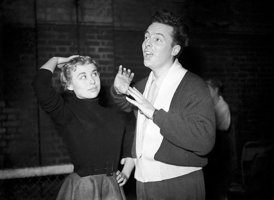 Actors Barbara Windsor and Johnny Brandon rehearse for the 'Dreamers Highway' BBC TV programme.