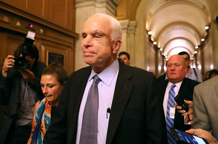 Sen. John McCain (R-AZ) leaves the the Senate chamber at the U.S. Capitol after voting on the GOP 'Skinny Repeal' health care bill on July 28, 2017 in Washington, DC. (Justin Sullivan/Getty Images)