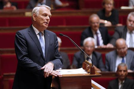 France's Prime Minister Ayrault delivers his speech during a parliamentary debate on Syria at the National Assembly in Paris