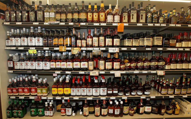 FILE PHOTO: A view of the many different types of Kentucky bourbon that are produced in Kentucky are displayed at a Party Mart liquor store in Louisville