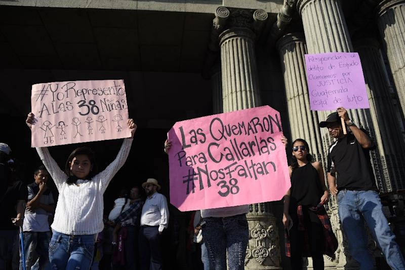 Protesters rallied outside the residence of President Jimmy Morales alleging government negligence at an overcrowded shelter led to a fire that killed 39 girls
