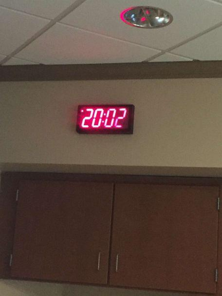 PHOTO: Photograph of the clock in the delivery room at 20:20 PM when Charlee Rose was born. (Courtesy of Laken Masters)