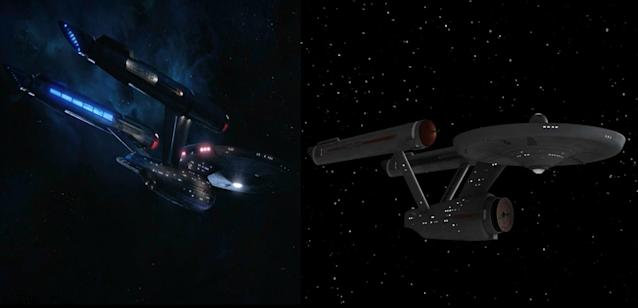 Side-by-side glimpses of the <em>Discovery</em> Enterprise and the original Enterprise. (Photo: CBS All Access/CBS)