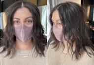 <p>Before I left, Santos added soft waves using a curling iron and some texture spray to make it look more effortless and chic, and less polished. Moral of the story: try layers, people. It will change your life.</p>