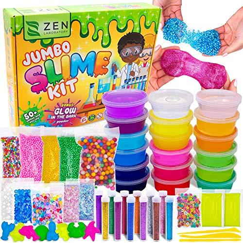 DIY Slime Kit for Girls Boys - Ultimate Glow in the Dark Glitter Slime Making Kit Arts Crafts - Slime Kits Supplies include Big Foam Beads Balls, 18 Mystery Box Containers filled Crystal Powder Slime (Amazon / Amazon)