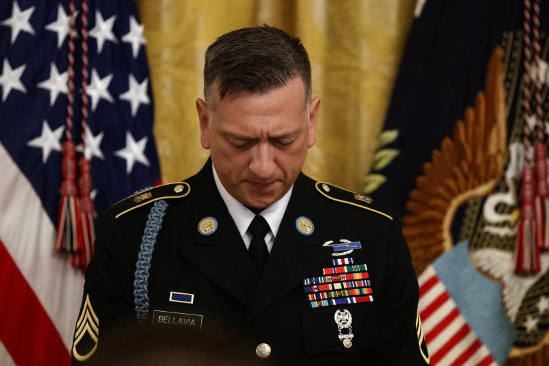 Army Staff Sgt. David Bellavia pauses durning a ceremony at the White House in Washington, Tuesday, June 25, 2019, before receiving the Medal of Honor for conspicuous gallantry while serving in support of Operation Phantom Fury in Fallujah, Iraq. (AP Photo/Carolyn Kaster)