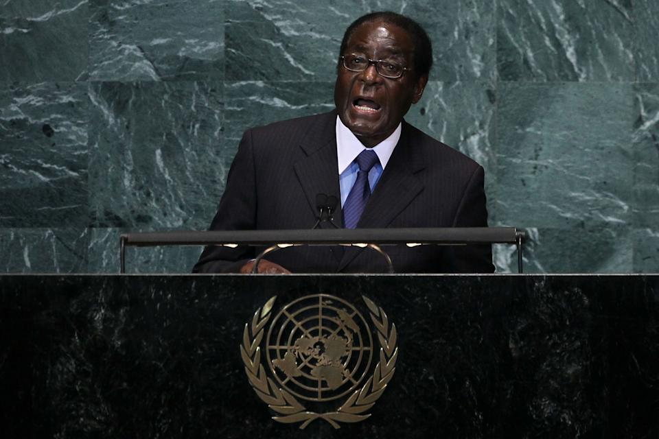 <p><b>Robert Mugabe</b></p> <br><p>Zimbabwean President Robert Mugabe has turned once-rich Zimbabwe into his personal playground, killing most of his rivals and looting Zimbabwe for good measure. His net worth stands at $5 to $10 billion thanks to his country's diamond deposits.</p>